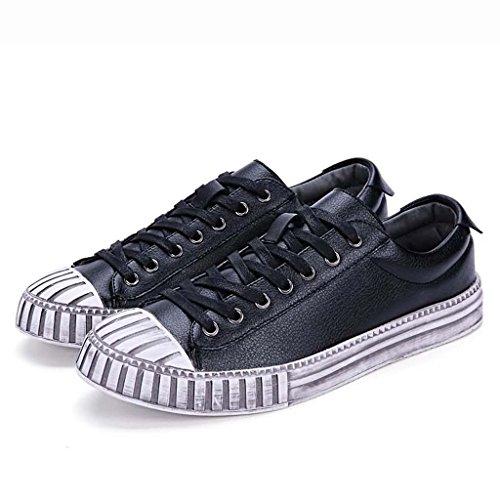 ZXCV Chaussures de plein air Chaussures décontractées, Chaussures à chaussures classiques à la main pour hommes, style britannique, à lacets, hommes d'affaires, britanniques, plat, chapeau, chapeau, c Noir