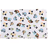 Waterproof Changing Diaper Pad Cotton Washable Toddler Babies Urine Mat Nappy ( Pink Flower, Orange Zoo, White Zoo, White Transport, Blue Car ) - 1x White Transport, As Described