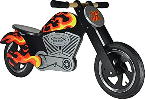 Kiddimoto Kids Chooper Wooden Balance Bike - Flames, 10-18 Inch