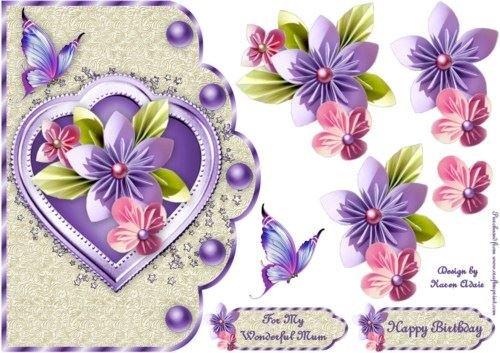 Origami Capesante carta in lilla e crema con step by step by Karen Adair