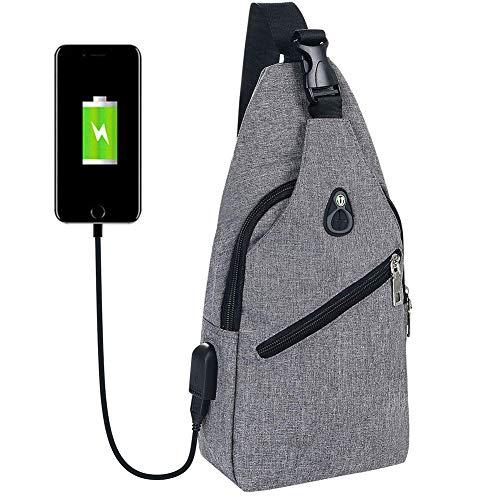 Flintronic Sling Bag, Bolsa de Pecho con Puerto de Carga USB y Puerto para Auriculares, Hombres Mujeres...