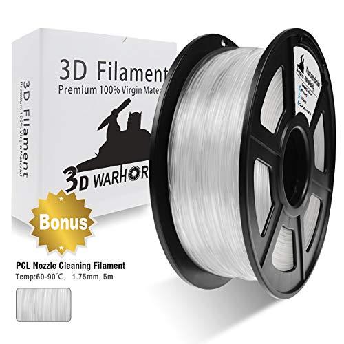 3D Warhorse 3D Filament, ABS 3D Printer Filament 1.75mm, 1KG Spool(2.2lbs),3D Printing Filament Dimensional Accuracy +/- 0.02mm-Bonus with 5M PCL Nozzle Cleaning Filament(Transparent/Nature/Clear)