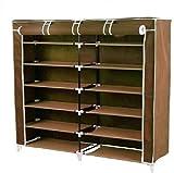 #9: Foldable Shoerack Closet Wardrobe Portable Storage Organizer With Shelves | A Multi Purpose Almirah (Brown)