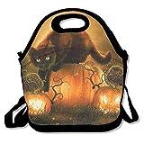 Kathrine Halloween Pumpkin Bat Cat Lunch Bag Tote Handbag Lunchbox For School Work