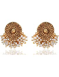 Sinjara Gold Plated Bunch Of White Pearls Big Stud Earrings For Women Traditional Designer Earrings For Girls...