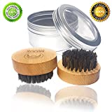 High Quality GENTLEMAN ALWAYS Boar Bristle Beard Brush with 100 % Genuine Boar Bristles - Ergonomic Round Beard Brush with Wooden Handle and Aluminum Case - Ideal Gift for Men - Beard Grooming Set