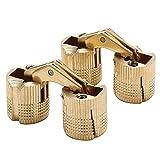 Sayayo 180 Grad Messing zylindrische versteckte Scharniere für Schrank Holzkasten, Schraube verstellbare Basis mit Kugellager, 2 Stück, EJL1016G-2P