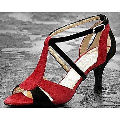 Silence @ pour femme Chaussures de danse latine en satin Stiletto Talon Rouge noir/rouge