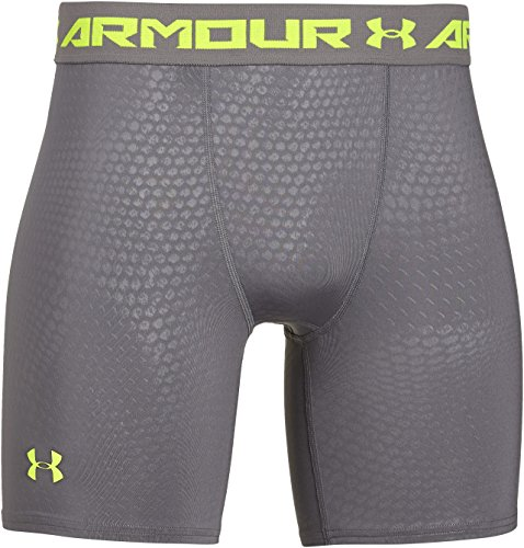 Under Armour Pantaloni corti fitness di compressione Uomo Armour HG Printed Comp, Grigio (Graphite), M