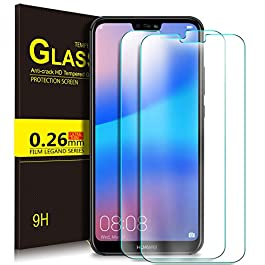 KuGi. Huawei P20 lite Screen Protector, 9H Hardness HD Clear Bubble Free Installation High Responsivity Easy Installation Tempered Glass Screen Protector for Huawei P20 lite smartphone. Clear[2 PACK]