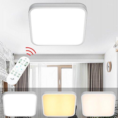 VINGO® LED Deckenleuchte Eckig Wohnzimmerlampe Schlafzimmerleuchte Badezimmerlampe spritzwassergeschützt (24W Dimmbar)