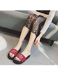 Zapatillas Cool Scrub Leather Bordado Zapatos planos Mujer Scrub Leather Punta abierta Zapatillas Zapatos casuales Playa Zapatos Tamaño 35-39 de la UE , red , 37