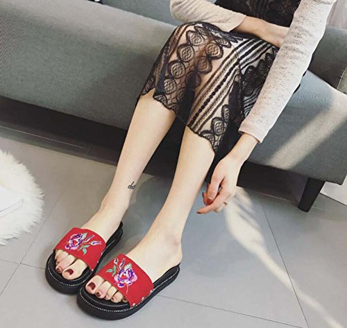 Cool Pantoufles Scrub En Cuir Broderie Ballerines Femmes Gommage En Cuir Pieds Ouverts Chaussons Casual Chaussures Plage Chaussures Taille Eu 35-39 Rouge