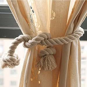 fittoway cordon en coton naturel 80 cm rideau avec embrasse rideau corde attacher les rideaux. Black Bedroom Furniture Sets. Home Design Ideas