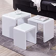 UEnjoy Modern Design White High gloss coffee tables Nest of 3 Coffee Table with Glass Top Living Room