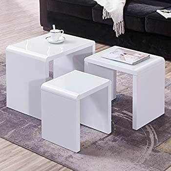 Uenjoy modern design white high gloss coffee tables nest of 3 coffee uenjoy modern design white high gloss coffee tables nest of 3 coffee table with glass top watchthetrailerfo
