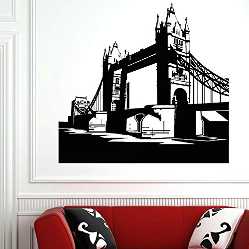 fenshop Grand London Bridge Silhouette Wandaufkleber Wohnkultur Vinyl Abnehmbare wasserdichte Wandtattoo Für Woo 62x59 cm