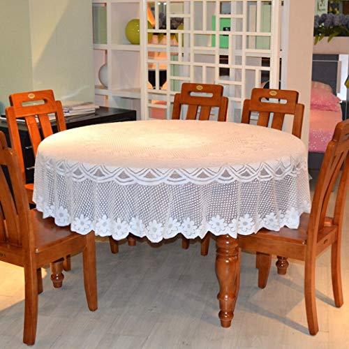andtuch Stoff Couchtisch Tuch Multifunktionsabdeckung Handtuchabdeckung Vier Personen Sechs Tisch Tischdecke Große Runde Tischdecke Reinweiß Staubtuch Weiße Pflaume Runde Tischdeck ()