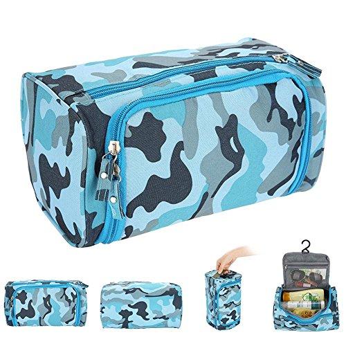 Kosmetischer Organisator, Make-upbeutel-wasserdichte Oxford-Reißverschluss-Wäschebeutel<br/>Multifunktionale Kosmetiktasche für den Heim- und Reisegebrauch (Blue & Camouflage)