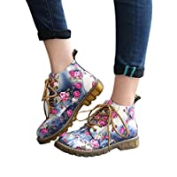 Mitlfuny Women Ladies Casual Shoes Waterproof Floral Print Boots Soft Flat Ankle Martin Shoes Lace-up Boots Cashmere Winter Warmer Boots