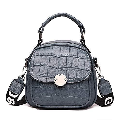 Crocodile Lady Frau Leder Rucksack Fashion Solid Color Umhängetasche Grau 18 * 8 * 20cm (Softball-rucksäcke)