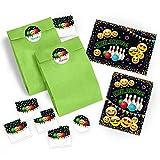 JuNa-Experten 12 Einladungskarten Geburtstag Kinder Jungen Jungs Mädchen Bowling / Einladung zur Bowling-Party / Kartenset incl. 12 Umschläge, 12 Tüten / grün, 12 Aufkleber