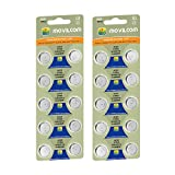 MovilCom - 20 batterie a bottone AG0 1,5 V equivalenti a SR521, 379, LR521 SR521SW, SR63, V379, D379, S521E, 618, JA, 280-59, SB-AC/DC,SR63, AG521