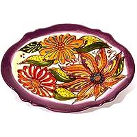 VASSOIO OVALE in ceramica fatto e dipinto a mano con decorazione flor 18,5 cm x 14 cm (LILA)