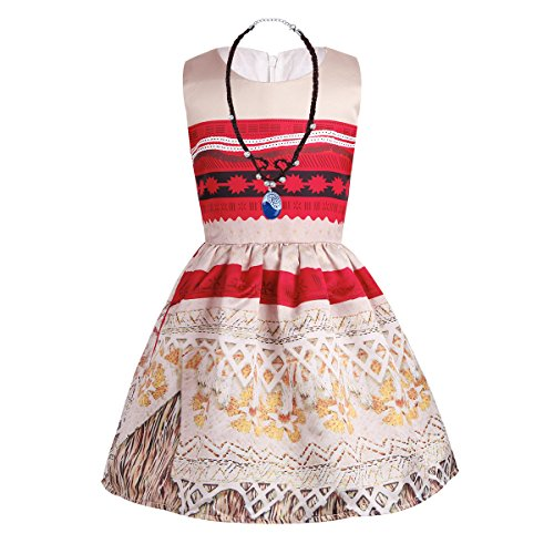 iiniim Mädchen Kleid Prinzessin Vaiana Kostüm Festlich Kleid Partykleid Ballkleid mit Halskette und Haarspangen Gr.86-128 Mehrfarbig 116-122/6-7 Jahre (3-monats-baby-halloween-kostüme)