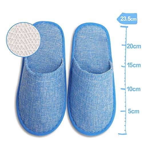 ciabatte aperte/chiuse, per pantofole spa, party guest, hotel e viaggi antiscivolo e lavabili e non monouso -10 paia,blue