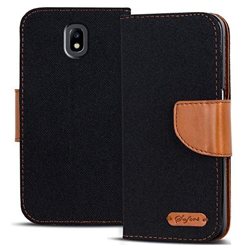 Conie Textil Hülle kompatibel mit Samsung Galaxy J5 2017, Booklet Cover Schwarze Handytasche Klapphülle Etui mit Kartenfächer
