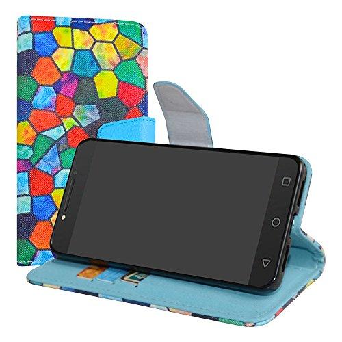LiuShan Alcatel A5 LED Hülle, Brieftasche Handyhülle Schutzhülle PU Leder mit Kartenfächer und Standfunktion für Alcatel A5 LED Smartphone (mit 4in1 Geschenk verpackt),Stained Glass