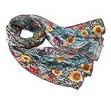 Prettystern P929 - 160cm Stampa Fine Art sciarpa 100% seta Gustav Klimt - Giardino di campagna con girasoli