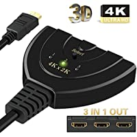 HDMI Switch,Ablewe 4k 30Hz HDMI Switcher 3 Port HDMI Umschalter, 3 IN 1 OUT HDMI Verteiler Kabel HDMI Splitter Unterstützt HD 3D 1080P 4K für HDTV/Blu-Ray/DVD/PS4/Xbox
