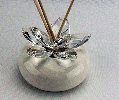 Bomboniere profumatore con fiore in cristallo completo di scatola (bianco)