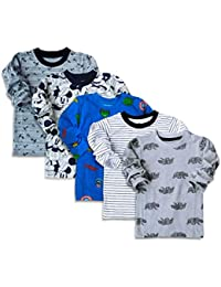 Minicult Cotton Kids Full Sleeve Tshirt with Round Neck and All Over Print (Pack of 5) (Multicolor)