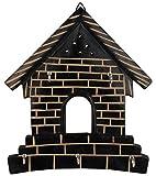 #8: AL-Fa Black and Beige Wooden 5 Knob Key House Holder For Hanging Keys (8 cm x 7 cm x 9 cm, )