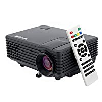 Sourcingbay RD805 800 Lumens Portable Mini LED LCD Projector For Home Cinema Theater Video Game Projector Support 1080P(Max) With HDMI/VGA/USB/AV/Audio Out Interface (Black)