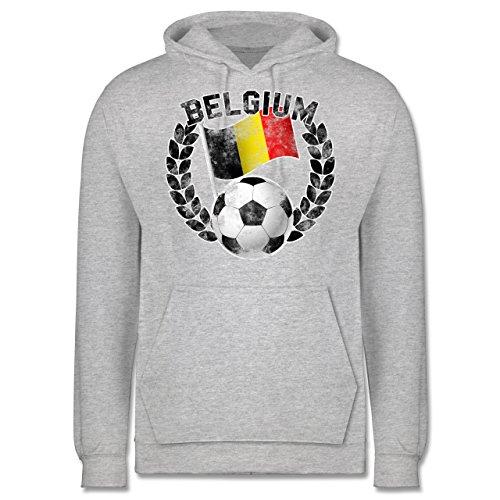 EM 2016 - Frankreich - Belgium Flagge & Fußball Vintage - Männer Premium Kapuzenpullover / Hoodie Grau Meliert