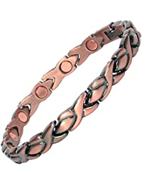 MPS® Ladies best seller Copper Rich Magnetic Therapy Bracelet with clasp and 3,000 gauss Neodymium Magnets
