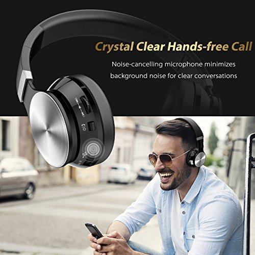 Bluetooth Headphones, VicTsing Wireless Foldable Over-Ear Hi-Fi Stereo Headset With Noise Cancelling Microphone, Supports Hands-Free Calling and Wired Mode for PC/Cell Phones/TV – Silver