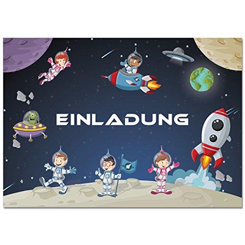 12 Einladungskarten im Set zum Kindergeburtstag mit Motiv Raketen, Weltraum, Raumschiff. Einladungen für Jungen und Mädchen