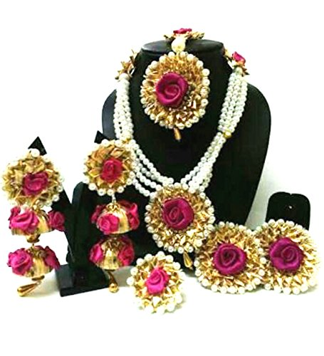 Floret Jewellery Handmade Pearl Flower Gota Patti Jewellery Set With Maang Tika, Bracelets, Ring & Earrings (Mehandi/Haldi/Wedding)