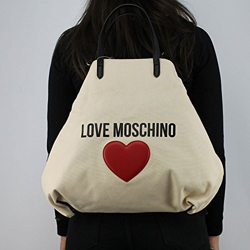 Love Moschino & Heart shopping bag convertible into backpack white