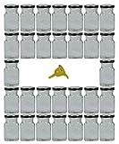Viva Haushaltswaren   30 quadratische Gewürzgläser / Marmeladengläser 150 ml mit silber  farbenem Drehverschluss inkl. einem gelben Einfülltrichter
