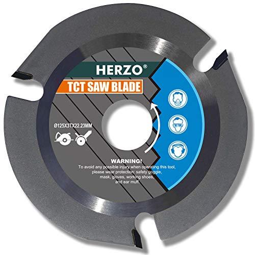 HERZO Disco Para Cortar Madera 125mm / 115mm, Disco Amoladora Madera para Amoladora (125mm)