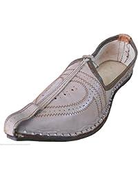 kalra Creaciones Tradicional de La India del Hombre Mojari Leather Loafer Flats, Color Marrón, Talla 40.5 EU M