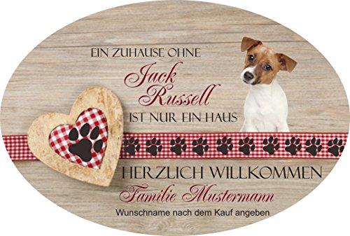 childer aus Schiefer auch mit Wunschname Herzlich Willkommen - Jack Russell Haustürschild mit Namen, mit Löchern zum Aufhängen ()