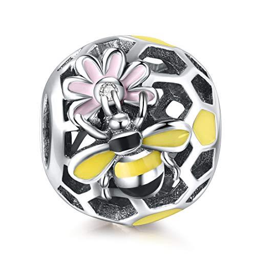 Damen Bienen Tier Charms Silber Gelb Rosa Emaille Blumen Korn Charme für Armband Halskette