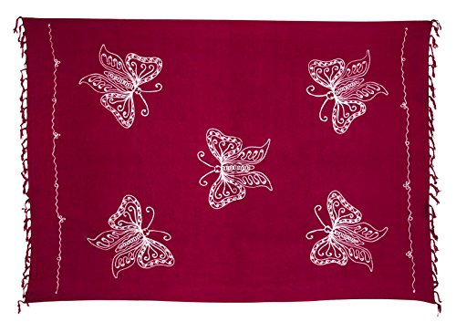 Von Hand Bemalt, Bad (Sarong Pareo Dhoti Lunghi ca. 170cm x 110cm Fuchsia mit Schmetterling Stickerei Handgefertigt und Kokosnuss Schnalle im Raute Design)